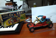 Vintage Tin Plate Go Kart Toy With Rubber Driver. Made In Japan.