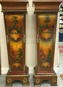 Antique French Ormolu On Wood Pedestal Plant Stands Painted Scenes Green Marble