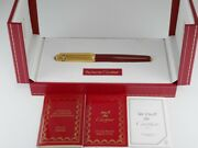 Pasha Red Lacquer And Gold Plated Rollerball Pen With Box Mint