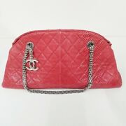 Mademoiselle Lizard Chain Shoulder Bag Red Silver Fittings 37530 _70802