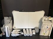 Nintendo Wii Console W/ 9-games 3-controllers/nunchucks 2-wii+ Adapters Power/ir