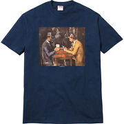 Supreme Cards Tee Navy Blue L Ss 2018 T-shirt The Card Players By Paul Candeacutezanne