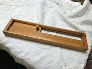 Old Antique Hand Carved Wooden Ruler Measure In Dovetailed Box Slides Unusual