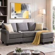 Reversible Sectional Sofa Couch L Shape 3-seat Suede Fabric Cushioned Wood Frame