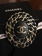 Auth Cc Logo Black Leather Chain Brooch Pin Large Gold Tone,sold Out