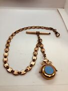 Victorian Edwardian Rolled Gold Watch Chain And Key Spinning Fob Dog Clip Clasp
