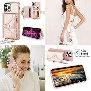 For Iphone 12 Pro Max Wallet Case Crossbody Card Holder Zipper Purse Rose Gold