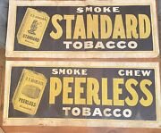 Two Large Antique F.f. Adams And Co Standard And Peerless Tobacco Canvas Sign