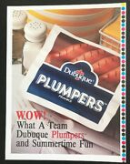 Dubuque Plumpers Franks Hot Dogs Vintage 1980's Print Meat Ad Poster Display