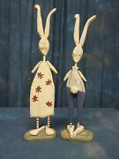 Wood Rabbits By Dan Dipaolo 20 Inches Tall Very Nice Folk Art Eclectic Easter