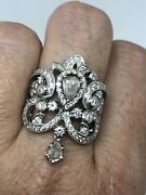 Vintage Rose Coupe Diamant Bague Or Blanc Taille 7