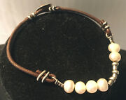 Silpada Freshwater Pearl Leather Bracelet Sterling Silver Button Clasp.