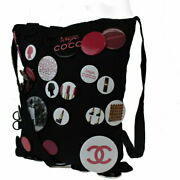 Shoulder Bag Coco Mark With Can Badge Black Canvas 66mh _74058