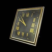 Art Deco Style Omega Silver Plate Table/desk Clock With 8 Day Movement And Roman