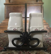 Longaberger Pottery Red Woven Traditions Salt And Pepper Shakers With Caddy