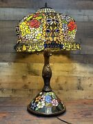 """Huge 33"""" Tall Rose Flower Jeweled Stained Glass Table Desk Lamp Base Light"""