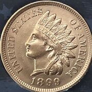 1899 Indian Head Penny 4 Diamonds Beautiful Coincleaned