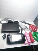 Nintendo Wii U - Black Console And Gamepad With Power Cords Controllers Wheels