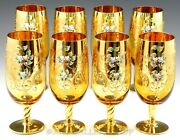 Vintage Murano Italy Amber Gold And Floral Large Water Wine Ice Tea Goblets Set 8