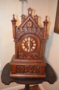 Antique German Black Forest Cathedral Style Mantel Cuckoo Clock Late 1800and039s
