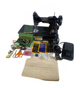 Vtg 1930-50s Singer 221 Featherweight Sewing Machine With Case And Accessories