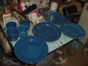 Vintage 8 Blue Speckle Graniteware Plates And Cups Camping Hunting Fishing Lot C