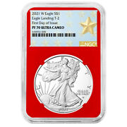 2021-w Proof 1 Type 2 American Silver Eagle Ngc Pf70uc Fdi West Point Star Labe