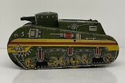 Vintage Mar Tin Toy Green Army Wind Up Toy Tank Cool Graphics 5a