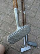 3 Antique Hickory Golf Putters. Unusual.