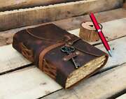 Handmade Deckle Edge Paper Leather Bound Journal Book Of Shadow Diary Notebook