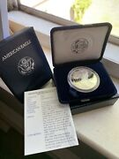 1996-p American Eagle Silver Dollar Proof With Coa And Boxuncirculated