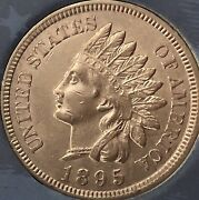 1895 Indian Head Penny Almost 4 Diamonds Beautiful Coincleaned