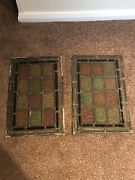 Pair Of Antique Leaded Stained Glass Windows Vintage Lead Stained Glass Panels