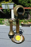 Vintage Solid Brass Candlestick Rotary Telephone Phone Gec England Works