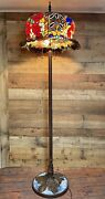 """Huge 64"""" Tall Rose Flower Jeweled Stained Glass Floor Lamp Light 21"""" Shade Di"""