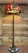 Huge 64andrdquo Tall Rose Flower Jeweled Stained Glass Floor Lamp Light 21andrdquo Shade Di