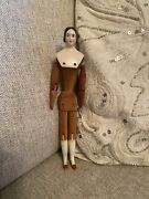 Very Rare 7.75andrdquo 1840andrsquos Pink Tint China Doll On Articulated Wooden Body Early Bun