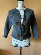 Dsquared2 Gray Wool Blend Toggle Cropped Thick Knit Cardigan Sweater Size Medium
