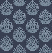 Chesapeake By Brewster 3118-25092 Birch And Sparrow Totem Blue Pinecone Wallpaper