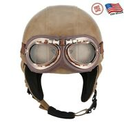 Usa Vintage Leather Open Face Half Helmet Resistant Goggles Motorcycle Scooter