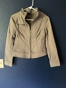 Euc Express Moto Style Zip Up Jacket Army Brown Cotton Stretch Womens Size 0