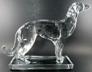 Large Viking Wolfhound Dog Clear Crystal Glass Skulpture Figurine Paperweight