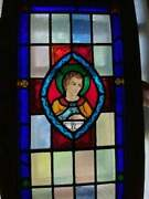 Antique St. Michael Stained Glass Leaded Window 44 X 20 Police Patron Saint