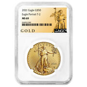2021 50 Type 2 American Gold Eagle 1 Oz. Ngc Ms69 Als Label
