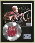 Bb King Three Oand039clock Reproduction Signed Silver Record Display Wood Plaque