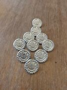 10 Lot, Large Queens Loyal Rangers 18th Century Pewter Button, Rev War, Colonial