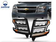 Anzo Headlight Plank Style Black Clear Sequential Amber For Chevy Tahoe Suburban