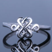 Solid 14k White Gold Chinese Knot Vintage Antique Bands Fine Jewelry Gift Ring
