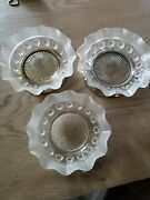 Art Deco 1930s Davidson Glass Blackberry Prunt Berrynt Dishes Silver Footed 3