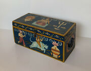 Vtg Whimsical Folk Art Painting On Wooden Chest Box Painted Wood India indian
